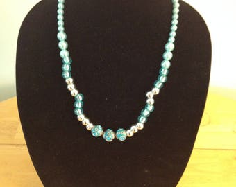 Teal Green and silver beaded necklace