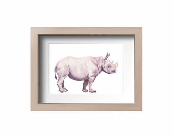 Black Rhino Print, rhinoceros art print, animal print, wall art, nursery art