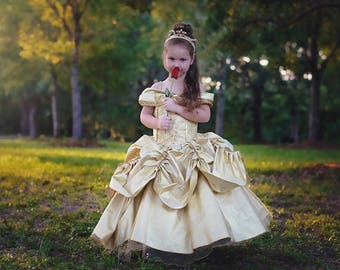 Belle Dress / Disney Princess Beauty and the Beast Inspired Costume / Ball gown style for toddler, child, girl