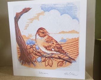 Autumn - artist card from original linocut print