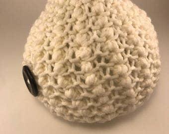 Beige - Knit hat -  Warm Trendy Stylish with black button detail