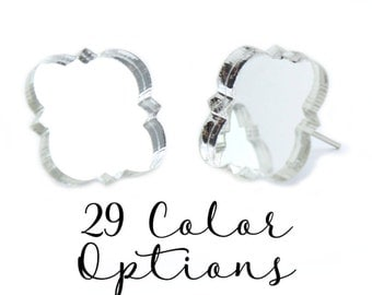 "1 Pair Blank Quatrefoil Post Earrings, 12mm 1/2"" 16mm Glitter, Pearl, Mirror, Monogram Blank, Blank Acrylic Earrings, Acrylic Earring Blanks"