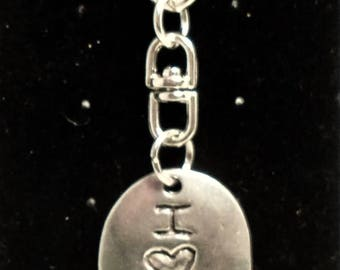 Yoga - I Love Yoga/Breathe keychain, Perfect for Yoga lovers. Hand stamped both sides.