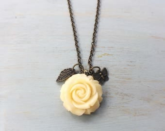 Rose Flower Necklace / Charm Pendant Necklace / Antique Bronze / Layering Necklace / Custom Length Necklace