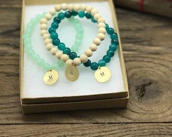 Stackable Bracelets, Initial Charm Bracelets, Stackable Initial Bracelets, Set of Three Bracelets, Custom Initial Bracelets, Initial Charm