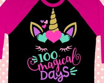 School svg - Unicorn svg - 100th day of school svg - 100 days of school svg - 100 magical days - Back to school SVG, dxf , png , pdf , eps