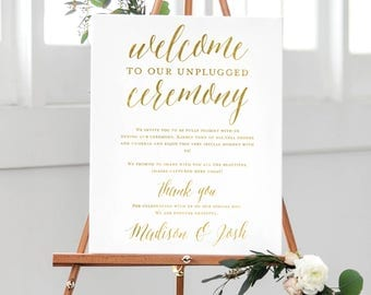 Unplugged Wedding Sign Unplugged Ceremony Sign Gold Printable Wedding Welcome Sign Gold Unplugged Wedding Welcome Sign