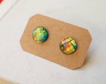 Beautiful Fire Opal Earrings, Synthetic, Studs, 12mm