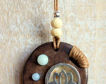 Necklace wood Birch lotus and gemstone beads