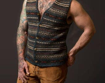Vintage Mens Vest / Earth tone Button Up Sweater Vest / Etchings Acrylic Wool Blend Striped Vest