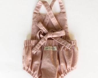 Linen + Lace Baby Girl Romper
