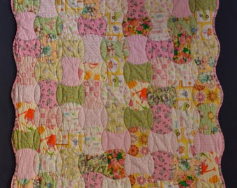 Pre-Cut Crib Quilt Kit - Baby Girl Scrappy Quilt using Quilt Shop Quality Fabrics Pre-Cut Notched Apple Core Pieces.  Get sewing faster!