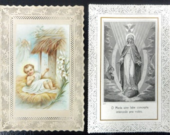 Lot of 2 Antique 1900's Religious Laced Prayer Cards Lithographs from Italy and Paris, Signed January 1st 1900, Mary Conceived without Sin