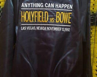 Vintage 90s Holyfield vs Bowe / Anything Can Happen / Embroidered logo / Laz Vegas Nevada / Satin Bomber Jacket