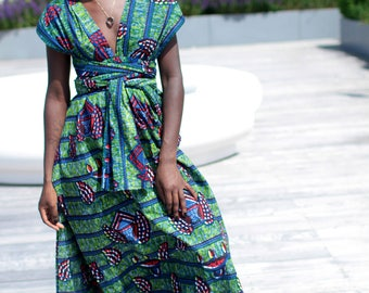 Green and blue African print maxi dress/ infinity dress