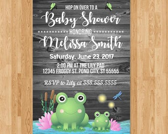 Frog Baby Shower Invite - Reclaimed Wood - Baby Frog Invitation - Boy Baby Shower Invite - Froggy Themed Shower - Frog Party Favors