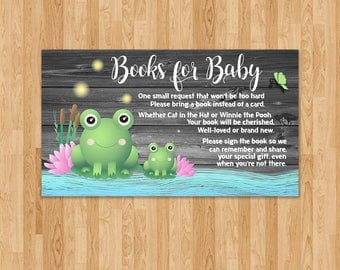 Frog Baby Shower Books for Baby Insert - Reclaimed Wood - Baby Frog Book Instead of a Card Insert - Froggy Themed Shower - Frog Party Favors