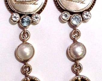 Sterling Silver, Blue Topaz, Pearl Nautical Posts