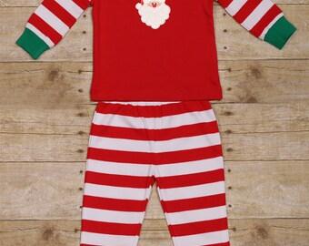 Santa Christmas Pajamas Red Striped
