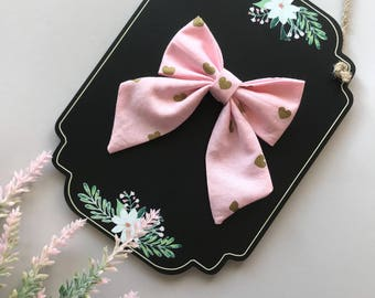 Sailor Bow, Pink and Gold Sailor Bow, Long Tail Sailor Bow, Mini Sailor Bow, Valentine Bow