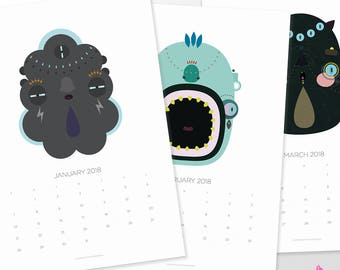 2018 Printable Wall Calendar with Original Illustrations