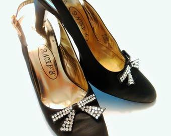 Restored Vintage Rayne Black Satin Sling Back Shoes
