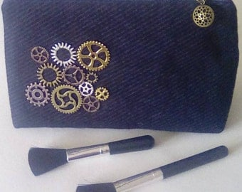 Steam punk inspired makeup bag, shaving pouch