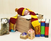Harry Potter Gryffindor Inspired Infant Newborn Baby Outfit Beanie Hat Booties Shoes Scarf Crochet Photography Photo Prop