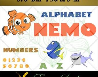 Finding Nemo Alphabet, Studio font,Letter svg, Numbers svg, files for cricut,svg files,Cricut Downloads, Digital Download, Instant Download
