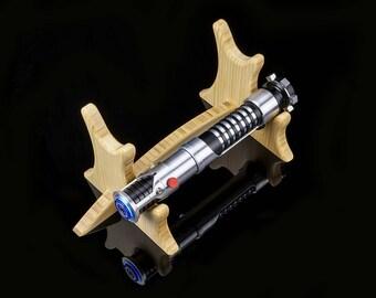 Wood Lightsaber Stand - Double Tier for 2 Hilts - Wooden Light Saber Hilt Holder Display Handmade