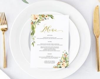Printable Wedding Menu, Wedding Menu Template, Floral Wedding Menu, Menu Template, Blush Greenery Leaves Wedding Menu, Faux Gold  Menu 002