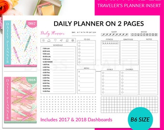 B6 Travelers Notebook Planner Insert Daily Plan On Two Pages Pre-Planning Printable