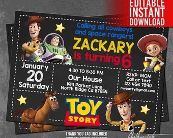 Toy Story Invitation Instant Download, Toy Story Cowboy Space Ranger Invitation, Toy Story Birthday, Toy Story Thank You Tags, Editable PDF