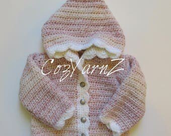 Baby girl adorable cozy girls pink and white variegated HOODIE SWEATER jacket coat toddler (9 to 12 month) handmade crochet
