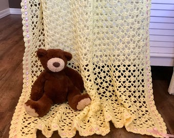 Baby blanket crochet, Yellow/Lemon, soft baby yarn, FREE USA shipping, baby shower gift, baby afghan blanket, newborn
