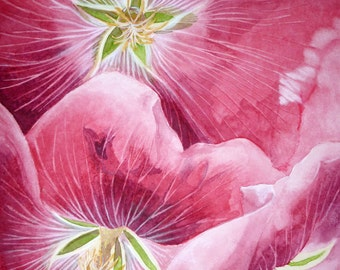 Hollyhocks, Set of 5 Note Cards with Envelopes from Original Watercolor Painting