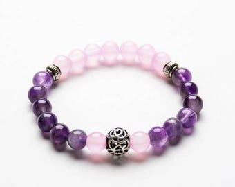 AMETHYST Beaded Bracelet - 8mm Healing Gemstone - Yoga bracelet - Spiritual jewelry - Gift Women