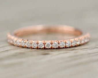 French Pavé Half-way Diamond Band 2.0mm .20ct in Rose