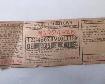 1946 New York Transit Ticket / March 24, 1946 / 207th St. Crosstown