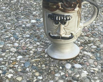 handmade ceramic mustache mug