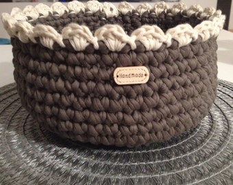 Crocheted basket handmade textile yarn