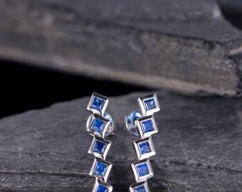 Sapphire Earring White Gold Stud Square Cut Bezel Set Geometry September Birthstone Women Anniversary Gift For Her Unique Solid 14K Gold
