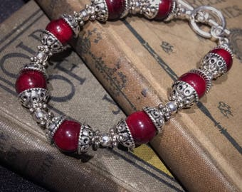 Red Reconstituted Stone Tibetan Silver Bracelet • Silver and Red Jewelry