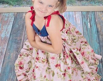 London Roses Twirly Dress- Girls Summer dresses, VFT London, Country Chic-Dress-Dresses for Girls, Made to Order, Twirly Dress-JPP