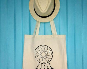 Tote bag / Tote / unbleached organic cotton novelty dream catcher