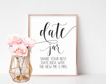 Date Jar Sign, Bridal Shower Signs, Wedding Shower Decorations, Bridal Shower Games, Date Night Advice Sign, Wedding Games, Reception Signs