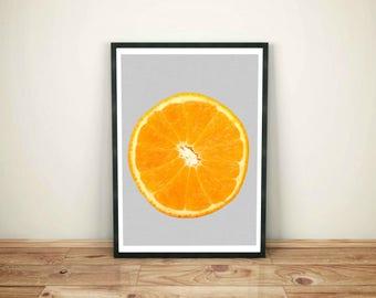 Orange Print, Orange Decor, Kitchen Printable, Kitchen Fruit Print, Fruit Art, Orange Wall Art Print, Modern Kitchen Print, Instant Download
