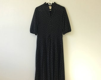 80s Pleated Sheer Black Diamond Midi Dress