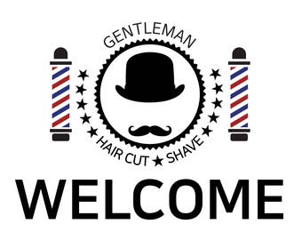 Barbers shop Art Print Vintage Decor digital art Download