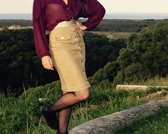 1980's Beige Portofino Pencil Skirt